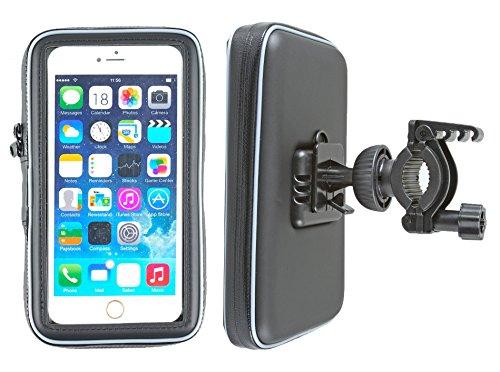"""smart2Bike® Fahrradhalterung / Motorrad-Halterung mit Schutz-Tasche für Smartphone, Navigator, Handy, uvm. - Display-Diagonale Universal: bis 6,3"""" passend zu Apple iPhone 6 Plus, 6S Plus, Samsung Galaxy Mega, Microsoft Nokia Lumia 640 XL LTE, Motorola Google Nexus 6, Uhappy UP580 uvm. Schutzhülle Tropf-Wasser geschützt! Mit Sicherungsriemen!"""