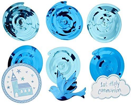 Neon Candy Jungen-Dekoration zur Erstkommunion, Wirbelschnur, zum Aufhängen, Blau