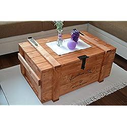 "'Caja de madera Mercancías Caja Baúl mesa Shabby Vintage Rústico Caribe ""Carri Caribe Line ancho 83,5cm altura 38cm profundidad 55cm"