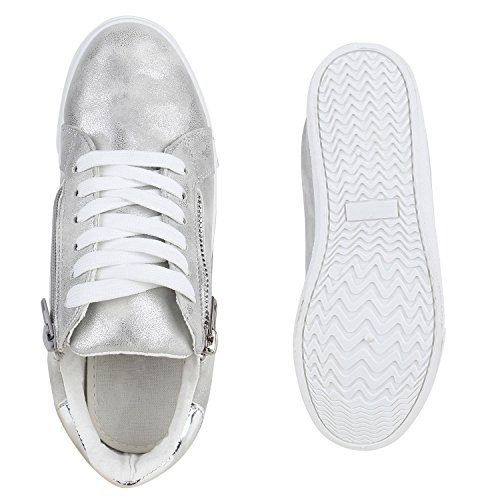 Damen Sneakers Metallic Sportschuhe Zipper Schnürschuhe Silber