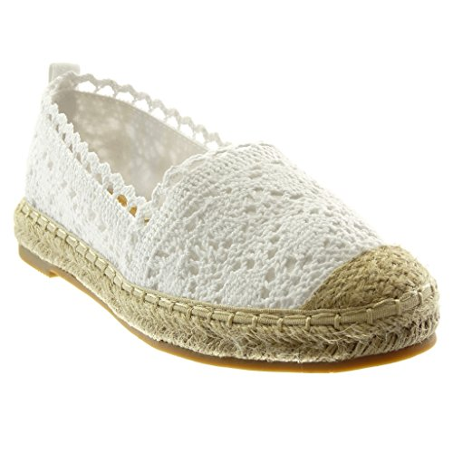 Angkorly Damen Schuhe Espadrilles - Slip-on - Spitze - Bestickt - Seil Blockabsatz 2 cm Weiß