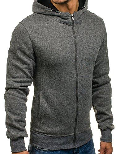 BOLF Herren Sweatshirt mit Kapuze Reißverschluss Pullover Basic sportlicher Stil Mix 1A1 Dunkelgrau_AK18