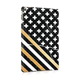 Black Onyx Marble Stone With White, Gold Lines & White Cross Pattern Dünne Rückschale aus Hartplastik für iPad Pro 9.7 Tablet Hülle Schutzhülle Slim Fit Case cover