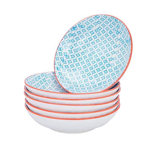 Nicola Spring Gemusterte Porzellan Pasta Schalen - Blau/Orange - 6er Set (Pasta-schalen-set)