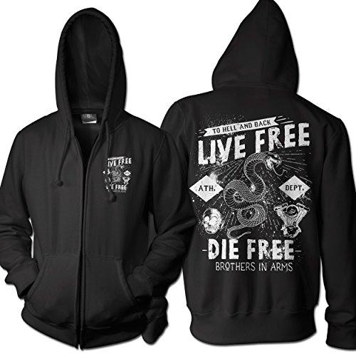 Felpa Uomo Zip Live Free La Free Motociclista Club Gonna Old School Felpa Con Cappuccio Nero