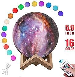 Nice Dream Mond Lampe, 3D-gedruckte Mondlicht Lampe wiederaufladbare 16 Farben15cm LED Fernbedienung mit Touchschalter Dimmbar für Weihnachten Geburtstagsgeschenk (Mond 2)