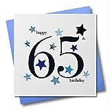 Claire Giles Herzen und Sterne Happy 65. Geburtstag Karte–Blau