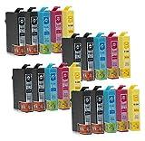 20 Druckerpatronen kompatibel zu Epson T1285 (8x Schwarz, 4x Cyan, 4x Magenta, 4x Gelb) passend für Epson L-355 Stylus BX-305F BX-305FW BX-305FW S-22 SX-125 SX-130 SX-230 SX-235 SX-235W SX-420 SX-420W SX-425W SX-430 SX-430W SX-435W SX-438W SX-440 SX-440W SX-445W