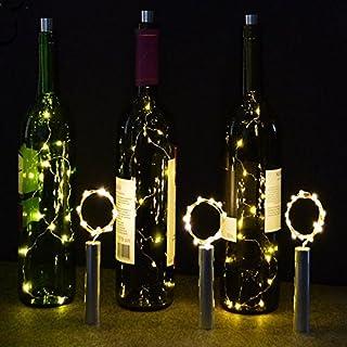 KOBWA 6 Stück LED Flaschenlichter Lichterketten, 20LED Warm Weiß Batteriebetrieben Kupferdraht Cork Wein Flasche Licht Für Flasche DIY, Party, Garten, Schlafzimmer, Weihnachten, Halloween, Hochzeit