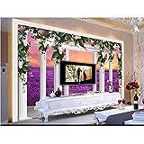 Rureng Benutzerdefinierte 3D Fototapete Wohnzimmer WandbildRom Spalte Lavendel 3D Foto Bild Sofa Tv Hintergrund Wandtapete Für Die Wand 3D-120X100Cm