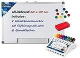 Idena 568019 - Whiteboard Alu-Rahmen, ca. 40 x 60 cm, mit Stiftablage (1, inkl. Magnete + 8 Marker + Schwamm)