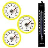 Lantelme 7344Termometro Set con 3PZ. klebet hermometer rotondo colore giallo e 1PZ. Analogico in Plastica Termometro Nero