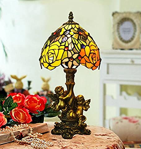 Tiffany-style table lamp/Angel of roses vintage bedside table lamp/ Baroque stained glass table lamp-A