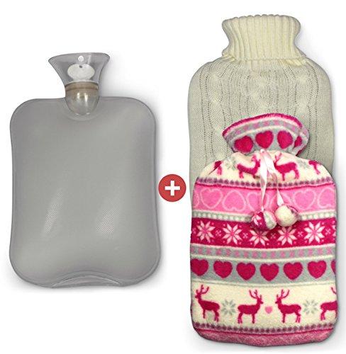 Wärmflasche (2 Liter) mit 2 abnehmbaren Bezügen zum Kuscheln, super softes Wärmekissen für den Nacken, Rücken oder Bauch, Wärme-Therapie, Winteroptik
