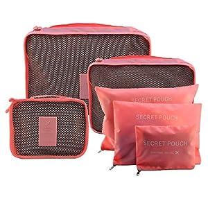 Set de 6pcs Sac Organisateur Voyage/ Emballage Valise 3 Cubes de Voyage + 3 Pochette Tailles Variées Trousse de Toilette Sac Pour Vêtements Serviettes Articles Cosmétiques, Meilleur Assistant Voyage