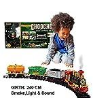 #10: Wish Kart Train Toy which Emits Real Smoke, Light, Sound and Track Set Battery Operated Choo Choo Classical Train
