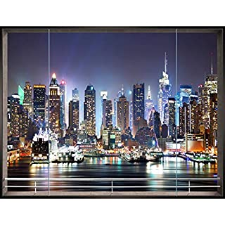 Fototapeten Fenster nach New York 352 x 250 cm Vlies Wand Tapete Wohnzimmer Schlafzimmer Büro Flur Dekoration Wandbilder XXL Moderne Wanddeko - 100% MADE IN GERMANY- NY Stadt City - Runa Tapeten 9026011b