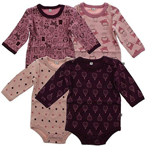 Pippi 4er Pack Baby Mädchen Body mit Aufdruck, Langarm, Alter 12-18 Monate, Größe: 86, Farbe: Lila, 3819