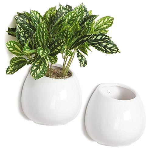 10,2cm Kleine Wand montiert Keramik Flower Vase, Sukkulente Pflanzgefäß Pots, weiß, 2Stück -