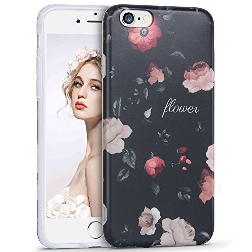 iPhone 6 6S Hülle,Imikoko Elegant Blumen Blumenmuster Retro Floral Protective Schützend Stoßfest Anti Staub Kratzer Soft Weich TPU Handyhülle Case Back Cover für iPhone 6/6s