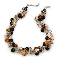 Avalaya Exquisite Black Ceramic Bead & Brown/Natural Shell Composite Silver Tone Link Necklace - 41cm L/ 4cm Ext