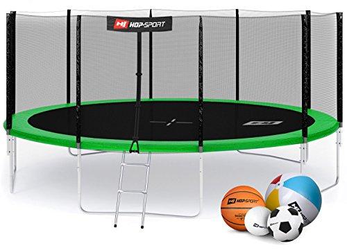 Hop-Sport Gartentrampolin 244, 305, 366, 430, 490 cm Komplettset inkl. Außennetz Leiter Wetterplane Erdanker Grün (490 cm)
