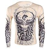 Tiaobug Herren Langarmshirt mit Tattoo Muster transparent Shirt Hemd Slim Fit Tattoos Unterhemd Unterwäsche Clubwear CS44 One Size