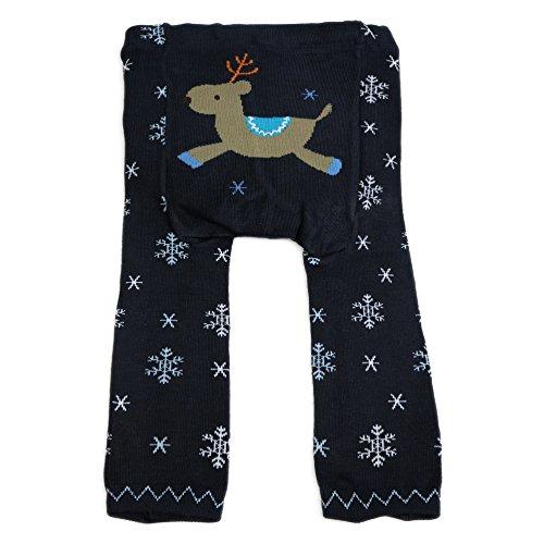 """Dotty Fish - Jambières en laine """"Navy Snowflake"""" pour bébés et jeunes enfants bleu et blanc"""