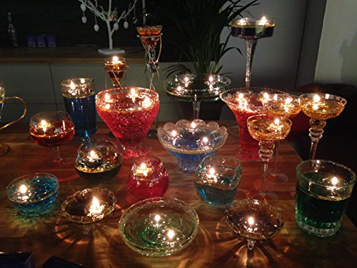 Aromaglow - 40 velas mágicas reutilizables que flotan en el agua y 100 mechas largas, transparentes Centro de mesa para boda