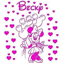 Tamaño 60cm heigth + 42corazones color rosa dormitorio, personalizado con nombre de Minnie Mouse, adhesivo decorativo para pared, coche vinilo, cualquier nombre, infantil, después de la compra mensaje nosotros con su nombre ThatVinylPlace