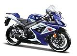 Maisto Suzuki GSX R750: Originalgetreues Motorradmodell im Maßstab 1:12,mit Federung und ausklappbarem Seitenständer, 17 cm, blau (531153)