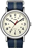 Timex Weekender Quartz Watch with Off-White Dial Analogue Display and Blue/Grey Nylon Slip Through Strap T2N654PF