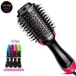 Cepillo de aire caliente, secador de pelo de un paso y voluminizador, multifuncional, 3 en 1, alisador de cabello de iones negativos y rizado, incluye 4 clips de pelo de cocodrilo de plástico