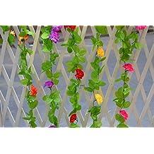 CUSHIONLIU Flor De Emulación Rattan Claveles Según El Techo Pared Flores De Seda Plástico Vides Flores Conducto De Aire Acondicionado Salón Día De La Madre Regalos 10 X 1 Grupo Púrpura De Ratán