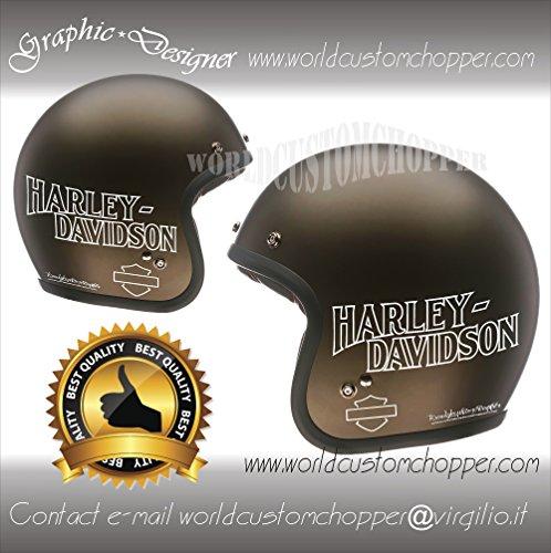 2 ADESIVI DECAL STICKERS HARLEY DAVIDSON DA CASCO MOTO CUSTOM (BIANCO)