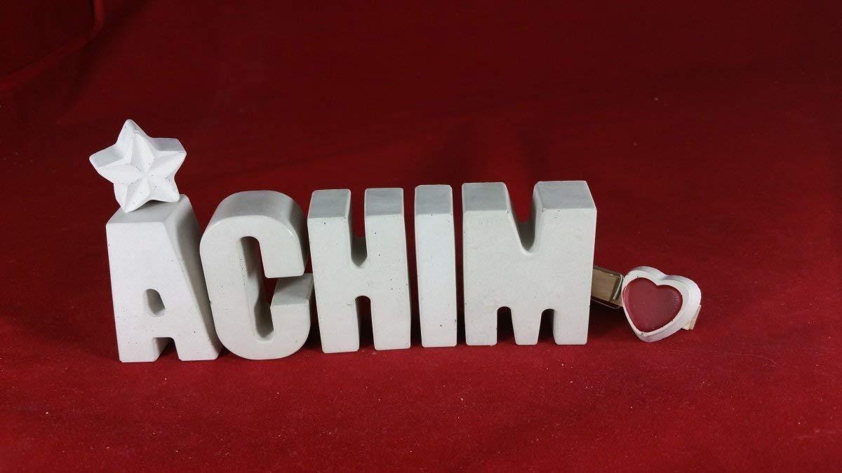 Beton, Steinguss Buchstaben 3D Deko Namen ACHIM mit Stern und Herzklammer als Geschenk verpackt! Ein ausgefallenes Geschenk zur Geburt, Taufe, Geburtstag, Namenstag oder auch zu Weihnachten! 4