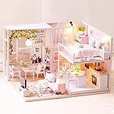 Zerodis 1:24 Maßstab Miniatur Puppenhaus Holz Kreative Handwerk Miniatur LED Licht Möbel...