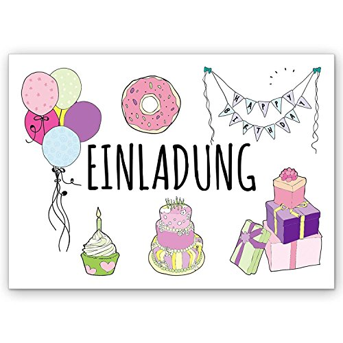 25er Einladung zum Kindergeburtstag Sparset I Einladungskarten zum Geburtstag I für Kinder, Mädchen & Jungen I lustig (Cupcake Für Mädchen)