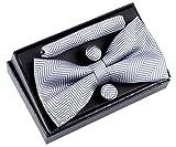 Retreez Herren Gewebte vorgebundene Fliege Fischgrätmuster Gestreifte 13 cm und Einstecktuch und Manschettenknöpfe im Set, Geschenkset, Weihnachtsgeschenke - grau