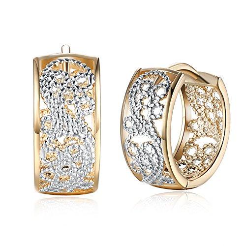 14K Gold Silber Hoop Ohrringe für Damen Mädchen Mode breit filigrane Huggie hypoallergen Hoops für empfindliche Ohren