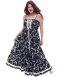 LOTUSTRADERS Damen Batik Spaghettiträger Kleid