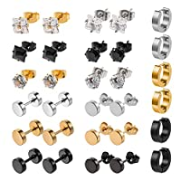 Solider 15 Pairs Stainless Steel Hoop Stud Earrings Hoops Magnetic Stud Surgical Earrings (Black,Steel,gold)