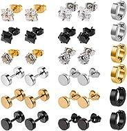 Solider 15 Pairs Stainless Steel Hoop Stud Earrings Hoops Magnetic Stud Surgical Earrings (Black,Steel,gold)
