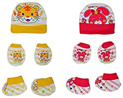 132 New Born Baby Premium Quality Cotton Cap, Mittens and Socks   0-6 Months   Pack of 2   Pink & Yellow