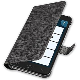 amplicomms Smartphone Kunstleder Schutzhülle mit Magnetverschluss für PowerTel M9500, 14,4 x 1,6 x 7,3 cm Schwarz
