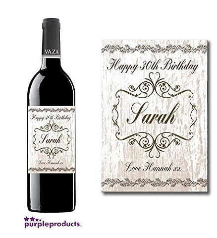 Étiquette de bouteille de vin d'anniversaire personnalisée