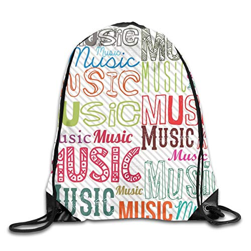 30 Rolling Duffle (YOWAKi Printed Drawstring Backpacks Bags,Music Typography In Various Styles Rhythm Acoustic Harmony Melody Funky Illustration,Adjustable String Closure)