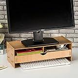 dreamaccess Holz TV Laptop PC Monitor Stand, extra Schublade, Handy Tasche, Bücherregal, Pen Box, täglich Stuff Organizer mehrfarbig goldfarben Medium