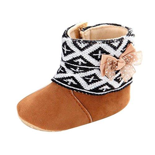 Baby Mädchen Schnee Stiefel, Zolimx Kleinkind Weiche Sohle Prewalker Krippe Schuhe (Braun, 0 ~ 6 Monate)