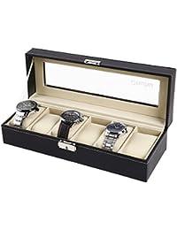 Ohuhu® de Cuero 6 Ranura Caja de Reloj con el Bloqueo del Metal